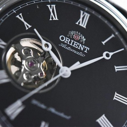 Orient FAG00003B AG00003B Men's Classic Automatic Open Heart Black Leather Strap Watch