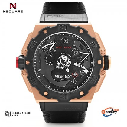 NSquare Pirate Storm N15.4 Men's Automatic 300M Sapphire Black Leather Strap Watch 48MM