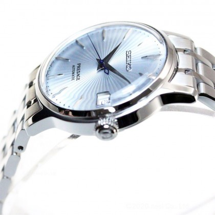 "Seiko SRP841J1 Women's Automatic Presage Cocktail Skydiving ""Ice Blue"" Dial Stainless Steel Bracelet Watch"