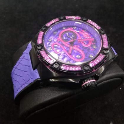 Balmer 8122G BK-7 Men's Automatic Pink Dragon Sapphire Purple-Black Rubber Strap Watch