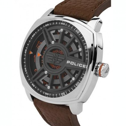 Police PL15239JS/61 Men's Speed Head Brown Leather Strap Watch